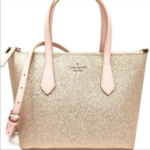 Kate Spade Joeley Glitter Crossbody Bag Rose Gold